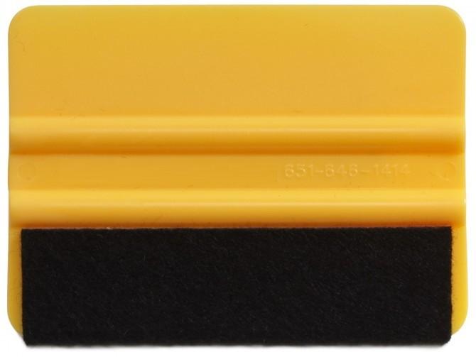 4 Inch Standard Weight Felt Edge Squeegee - Yellow