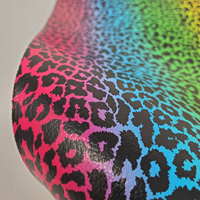 """Faux Leather 12"""" x 12"""" Sheets - 021 Rainbow Leopard"""