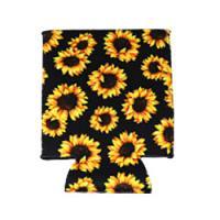 Can Cooler - Standard - Sunflower on Black