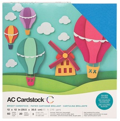 """American Crafts Textured Cardstock 60pk - Brights 12""""x 12"""""""