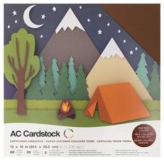 "American Crafts Textured Cardstock 60pk - Earthtones 12""x 12"""