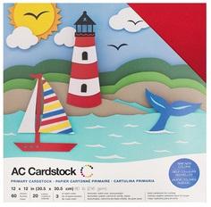 """American Crafts Textured Cardstock 60pk - Primaries 12""""x 12"""""""