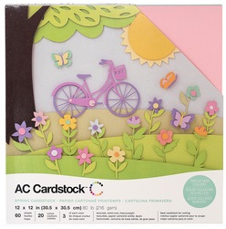 "American Crafts Textured Cardstock 60pk - Spring 12""x 12"""