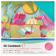 "American Crafts Textured Cardstock 60pk - Tropicals 12""x 12"""