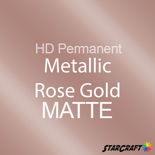 "StarCraft HD Permanent Adhesive Vinyl - MATTE - 12"" x 5 Foot - Metallic Rose Gold"